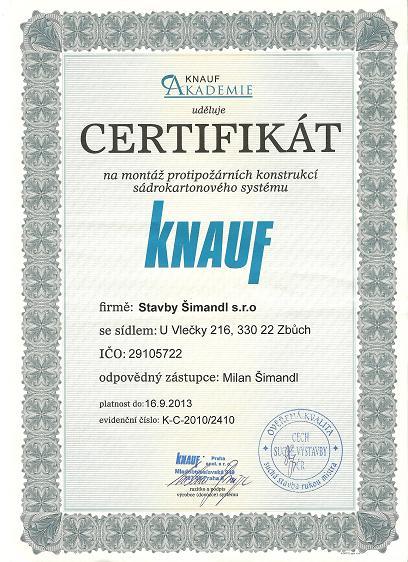 CERTIFIKÁT protipožárních systémů Knauf